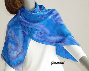 Blue Silk Scarf Ocean Hues Mauve Purple Periwinkle Cobalt Hand Painted Coverup, Hand Dyed Unique Artist Handmade One of a kind, Jossiani.