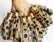 Large Cheetah Print Tassel Keychain ~ Leather Tassel Keychain, Hair on Hide, Leopard Print, Cheetah Print, Bag Accessory, Animal Print