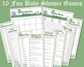 """10 Dragon and Knight Baby Shower Games    Instant Download Printable Files    Fantasy Fairy Tale Castle    8.5""""x11""""    Purse Cell Phone Word"""