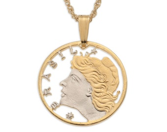"""Brazilian Pendant and Necklace, Brazilian 5 Centavos Coin Hand Cut, 14 Karat Gold and Rhodium Plated, 3/4"""" in Diameter, ( # 41 )"""