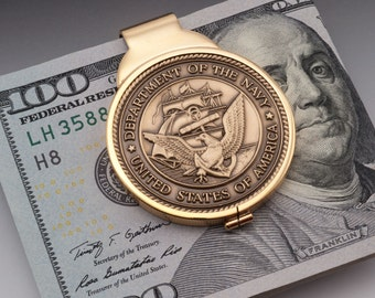 Navy Money Clip, United States Navy Challenge Coin, 14 Karat Gold Plated Money Clip, (#NBUM)