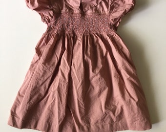 Vintage Baby Dress Mauve Cotton and Smocked Detail