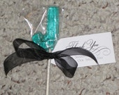 1 dz Hard Candy Letter J Shaped Lollipop Wedding Favors w/ Personalized Back Labels