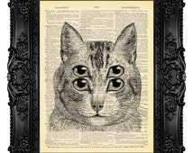 Trippy Cat College Dorm Room Decor Psychedelic Art Weird Art Print Cool Poster Strange Art Surreal Art Print Funny Wall Art Double Eyes 473