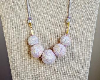 Felted Necklace - Pastel Sorbet Glitter