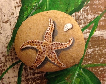 Painted  Rock STARFISH Paperweight Painted Rock