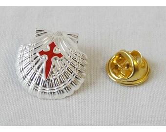 Camino de Santiago Scallop Vieira Shell Pin silver/red