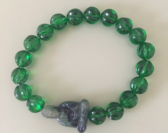 Green Buddha with Emerald Green Carved Lucite Beads