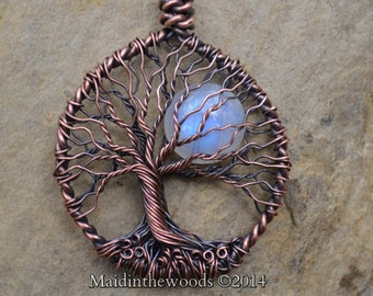 "Ready to Ship Rainbow Moonstone Moon Double Sided Tree of Life Necklace 18"" Chain + Extension 2-3 Day Priority Ship USA"