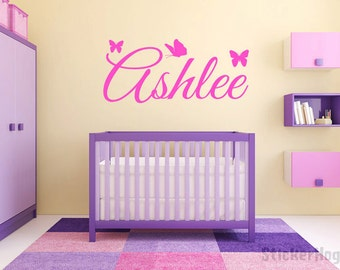 Butterfly Name Monogram Wall Decal #4 Girls Nursery Room Vinyl Wall Decal Graphics Bedroom Decor