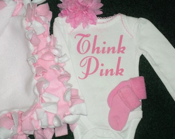 Think Pink Bodysuit - Gift Bag/Tote Set For Newborn Baby Girls - Newborn Girl Blanket, Socks, Bodysuit And Headband Gift Set - Girl Baby Set