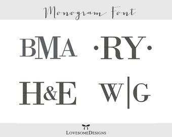 Bold Monogram Three Sizes 3inch 4inch 5inch Embroidery Design, Modern Monogram Font, Embroidery Font, Typography Font Modern Embroidery
