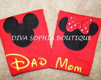 Dad and Mom Mickey and Minnie Shirts Set - Disney Trip Shirts