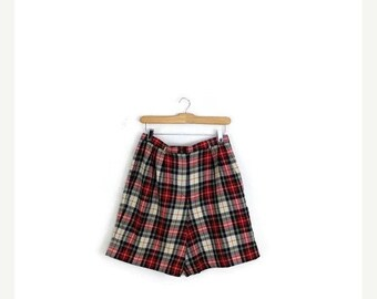 STORE WIDE SALE Vintage  Pendlton Red x White Tartan Check/Plaid High waist Wool Shorts from 1980's*