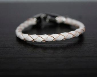 """Braided leather bracelet """"Love, faith, hope"""""""