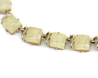 Vintage Coro Yellow Confetti Lucite Necklace  ~ Adjustable Choker
