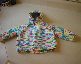 Baby Sweater Back Zip Hoodie Yellow/Blue/White/Dark Maroon Multi-Color 0-3 Mos Size