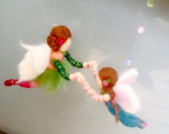 Needle felt mobile Mother and daughter mobile
