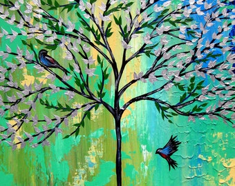 green art, green painting, green paintings, green wall art, tree of life painting, tree painting, tree paintings, from Australia, canvas art