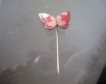 Vintage Stick Pin Pink and Gold Butterfly Pin / Brooch