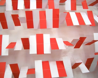 Christmas/ Birthday Party Rectangle Paper Garland - 5 Foot Strand - Red, and White