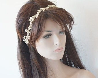 Wedding  Rhinestone Headband, Pearl  Headband, wedding headpiece, Bridal  Hair Jewelry