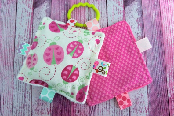 Baby girl toys  busy  crinkle toys, set of 2, easy care , washable, ladbugs and hearts, pink,  moms on the go,  can be personalized.
