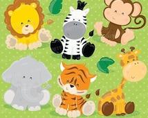 80% OFF SALE Baby Safari Animals clipart commercial use, Jungle animals vector graphics, digital clip art, digital images - CL711