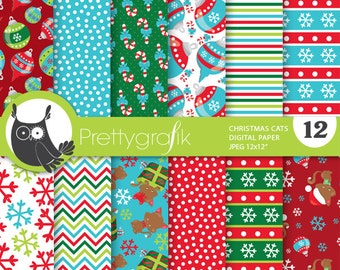 80% 0FF SALE Christmas cats digital paper, commercial use, scrapbook papers, background chevron - PS760