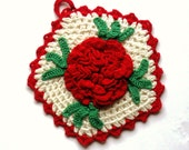 Vintage Pot Holder Red and White Crocheted with Large Red Rose 1940s 1950s