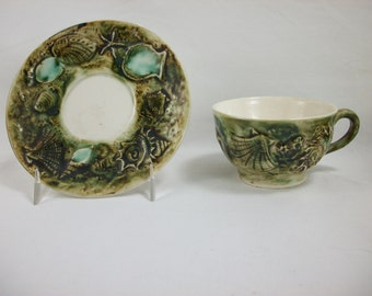 SALE Majolica Undersea Garden Cup and Saucer