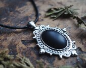 Gothic Black Onyx Ornate Necklace - Victorian Necklace - Goth Choker