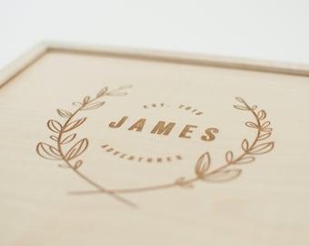Keepsake Box, Wooden Box, Custom Baby Gift, Memory Wooden Box, Bridesmaid Gift, Memorial Gift, Newborn Girl Gift, Baby Keepsake Box,Card Box