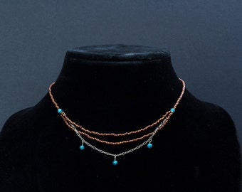 16-inch beaded necklace in terra cotta, turquoise and silver