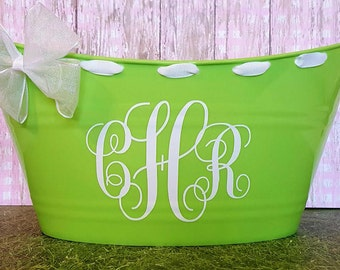 Monogrammed  Basket, Easter Basket, Toy Storage Bucket, Oval Tub with Bow