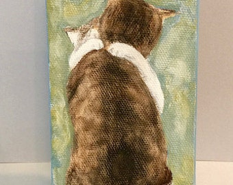 Hugging cats mini wrapped canvas Ginny Diezel Studios