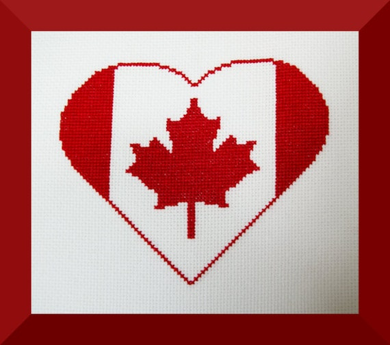 Canada flag heart cross stitch pattern embroidery