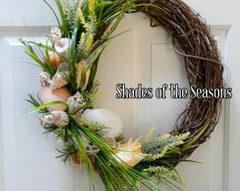 Beach Wreath, Beach Grapevine Wreath, Seashell Wreath, Beach, Seashells