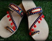 "Boho Stud Sandals ""ELENI"" ~ Pom Pom Sandals"