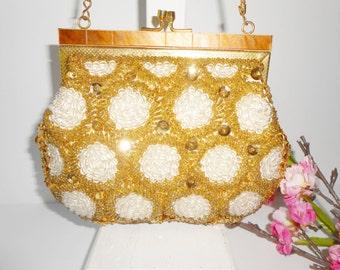 Beaded Evening Bag, Gold White Beading,  Vintage Beaded Bag, Evening Purse, Hand Made Hong Kong, Gold White Handbag EB-0034