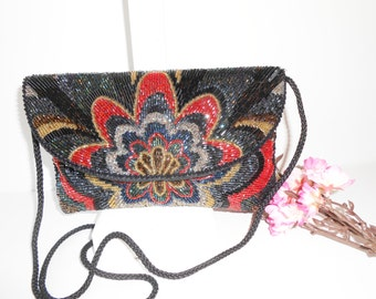 Beaded Evening Bag, Vintage Beaded Handbag,  Beaded Clutch Bag, Colorful Purse, Bead Shoulder Bag, Sparkly Purse, EB-0066