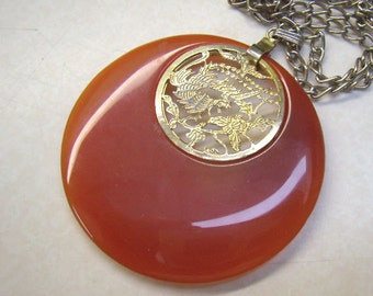 Vintage CARNELIAN Pendant/Necklace...Oriental Bird of Paradise...Cut Out Gold Swinging Disc...