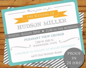 LDS Baby Blessing Invitation, Spiritual Blessing Invitation, Printable, Customized