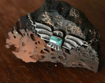 Native American 1940's Fred Harvey era thunderbird silver and turquoise pendant tie clip