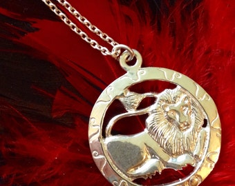 Sterling Silver Double Sided Leo or Lion Necklace (st - 1573)