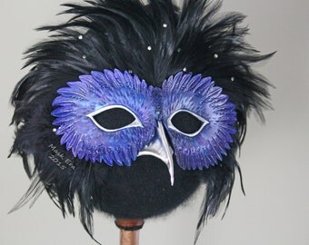 The Night Owl: handmade  and tooled leather mask