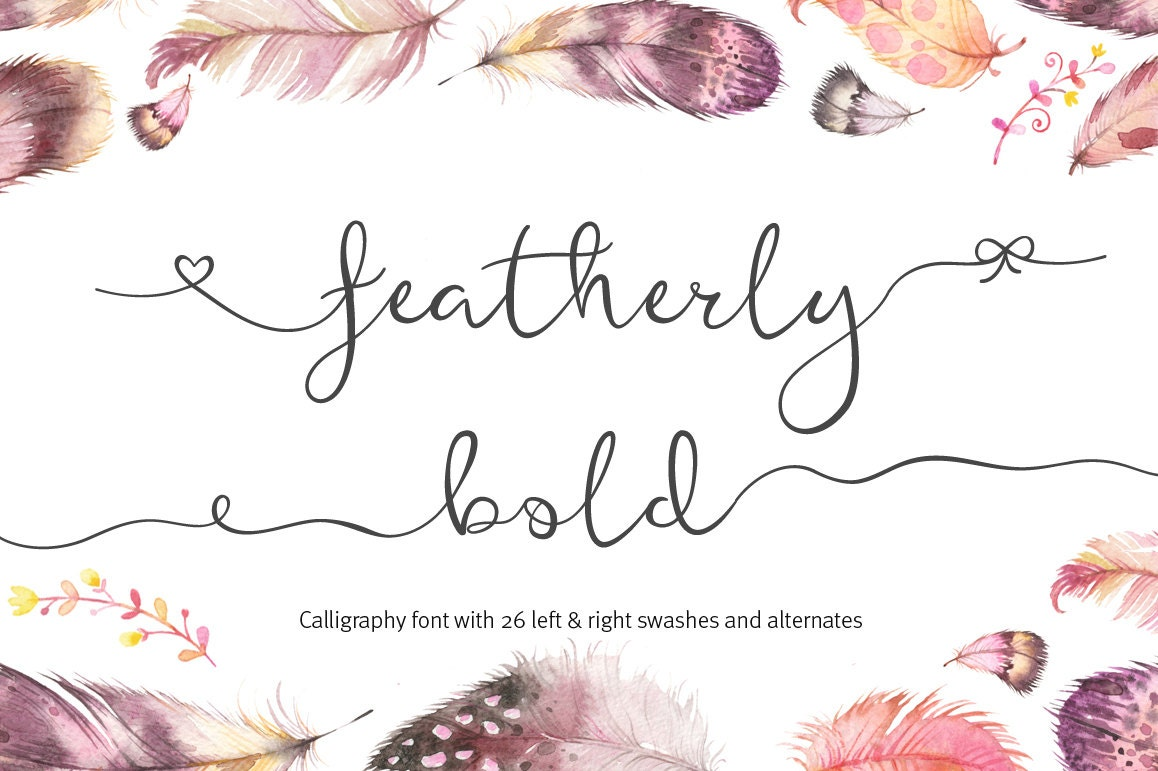 Script font featherly font bold calligraphy by aquariuslogos