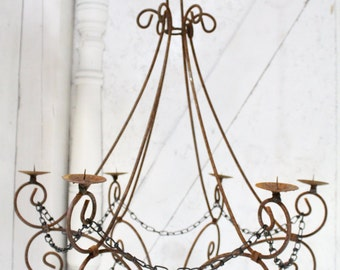 "Wrought Iron Candle Chandelier Lighting ""Master Double Teardrop"" Use Indoor or Outdoor"