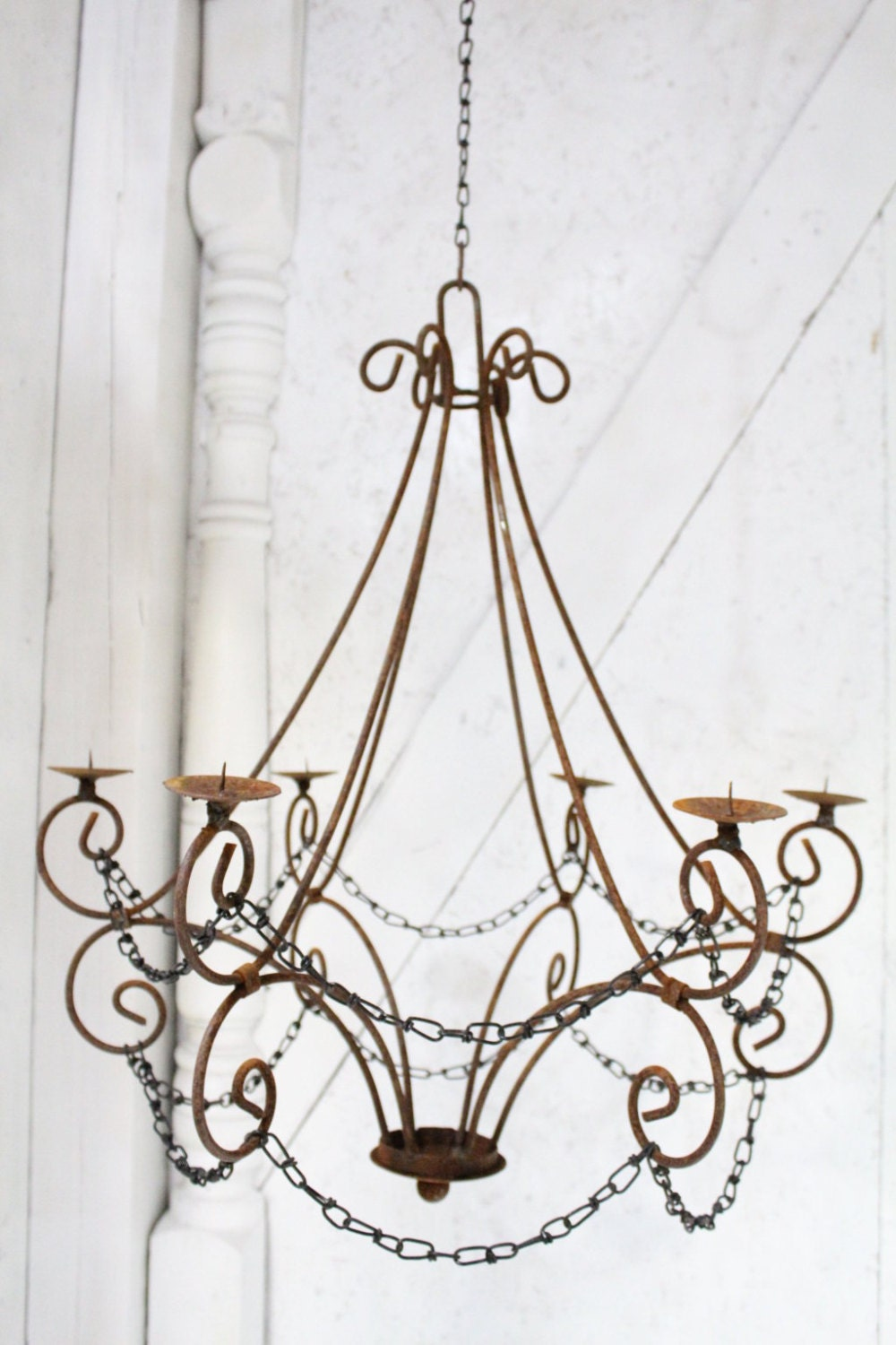 Wrought iron candle chandelier lighting master double