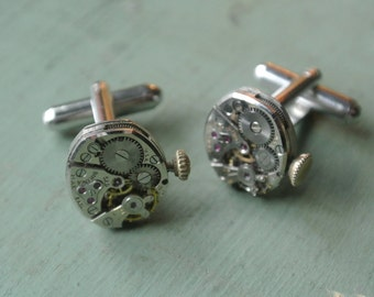 UPcycled Watch Movement Cuff Links, Authentic old Movement, Gears, Steampunk, Great Gift for Him, Necklaces also available By UPcycled Works